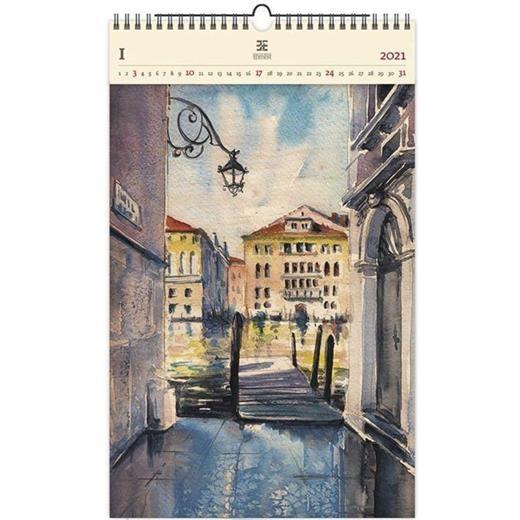Luxusní dřevěný obrazový kalendář Aquarelle