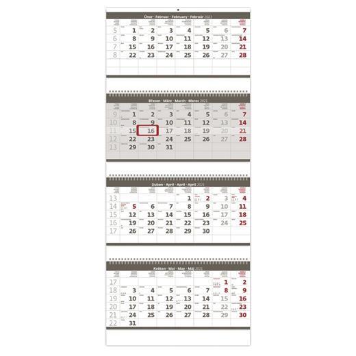Čtyřměsíční kalendář skládaný šedý