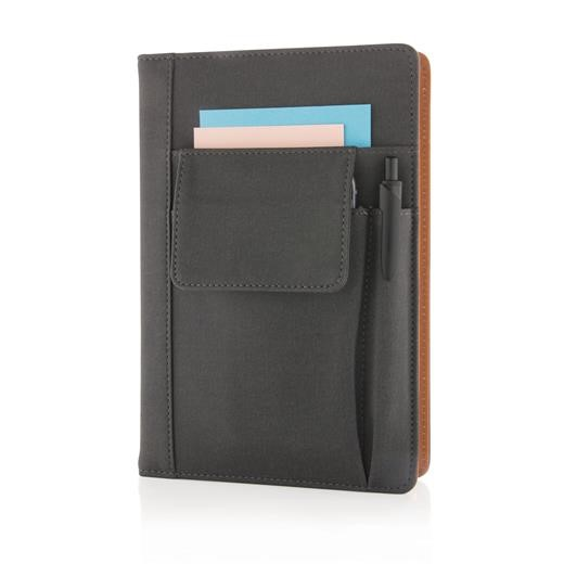 Notebook with phonepocket, black