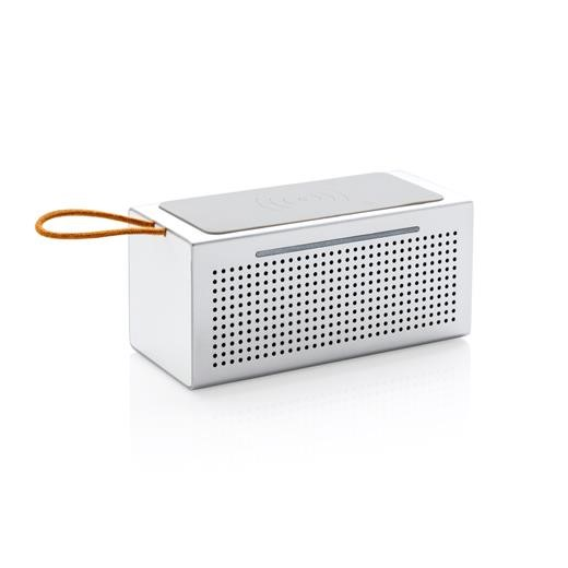 Vibe wireless charging speaker, silver