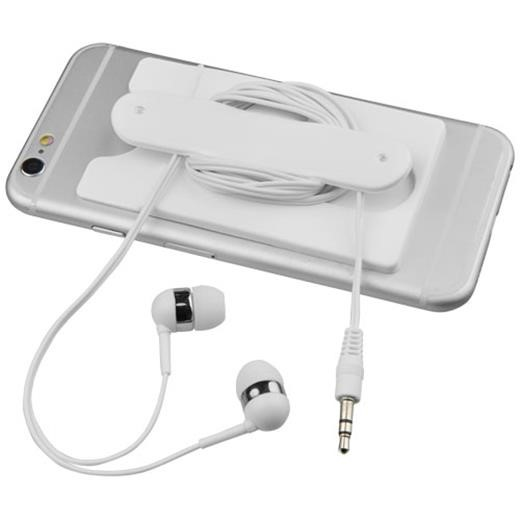 Wired earbuds and silicone phone wallet