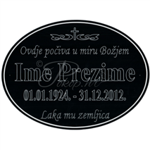 Natpis na ovalnu pločicu