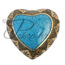 Memorial urn heart blue marble
