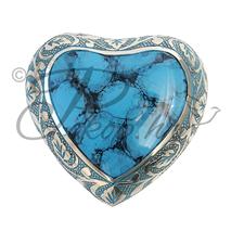 Memorial urn heart blue-brown
